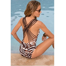 Zebra Animal Print Macrame Back One-Piece